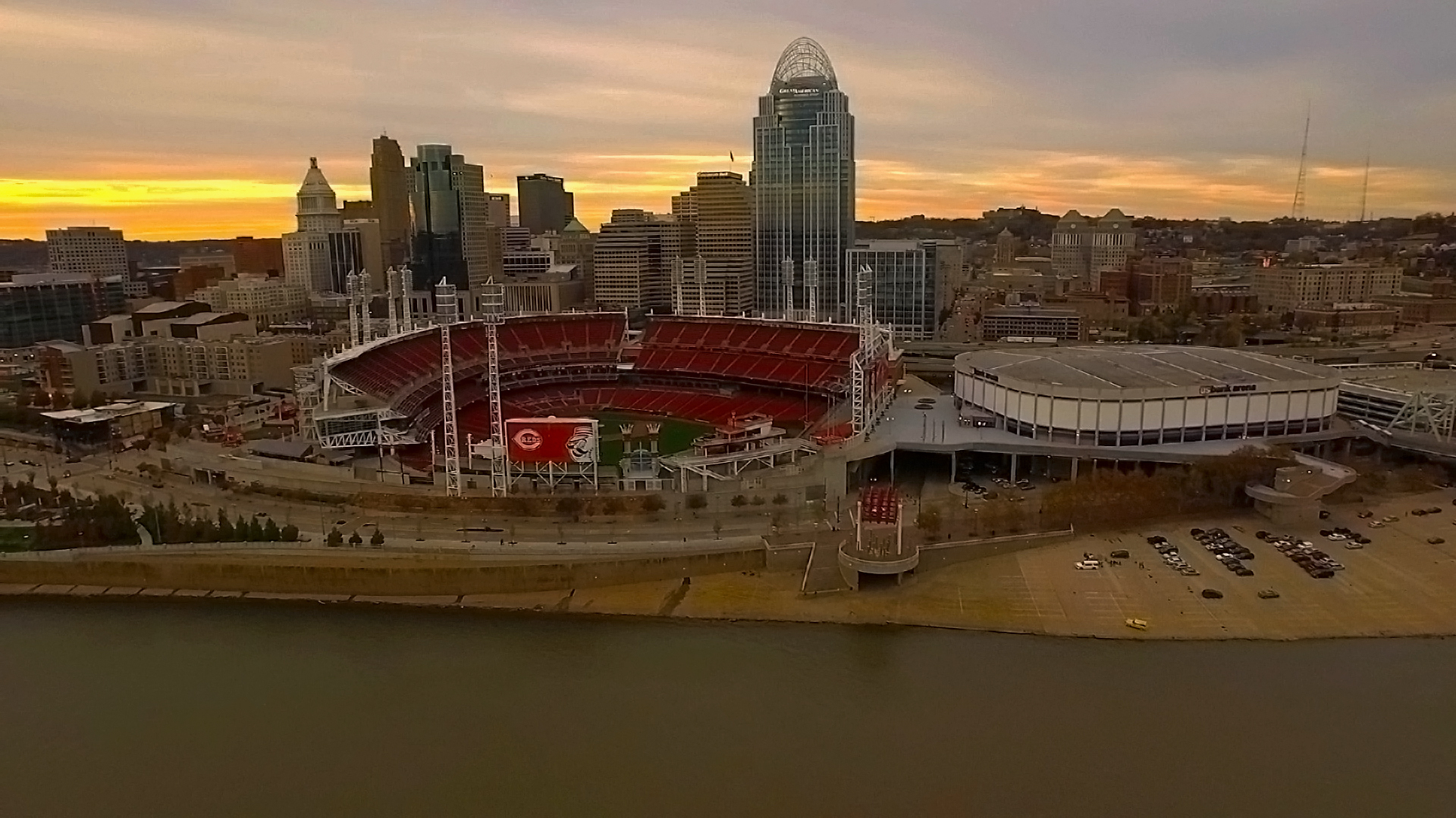 Drone Aerial Photo Great American Ballpark Cincinnati